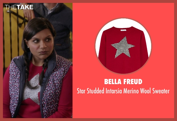 Bella Freud red sweater from The Mindy Project seen with Mindy Lahiri (Mindy Kaling)