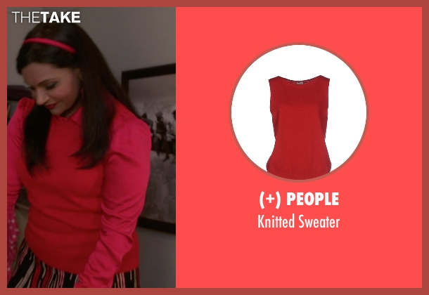 (+) People red sweater from The Mindy Project seen with Mindy Lahiri (Mindy Kaling)