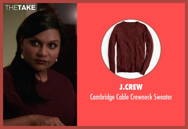 J.Crew red sweater from The Mindy Project seen with Mindy Lahiri (Mindy Kaling)