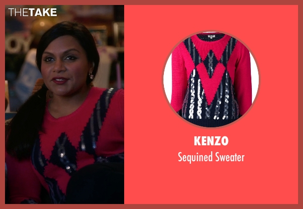 Kenzo red sweater from The Mindy Project seen with Mindy Lahiri (Mindy Kaling)