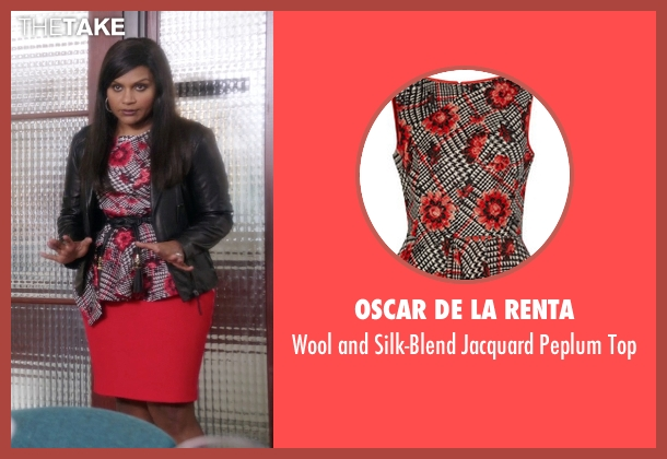 Oscar De La Renta red top from The Mindy Project seen with Mindy Lahiri (Mindy Kaling)