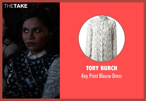 Tory Burch white dress from The Mindy Project seen with Mindy Lahiri (Mindy Kaling)