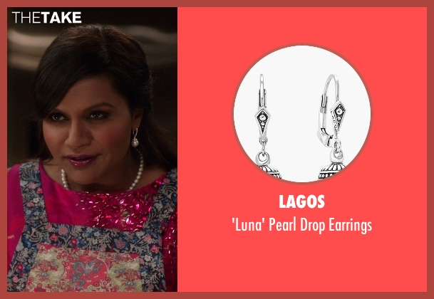 Lagos white earrings from The Mindy Project seen with Mindy Lahiri (Mindy Kaling)