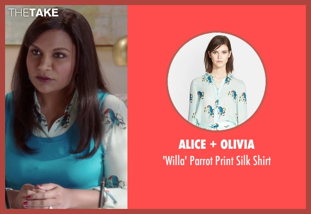 Alice + Olivia white shirt from The Mindy Project seen with Mindy Lahiri (Mindy Kaling)