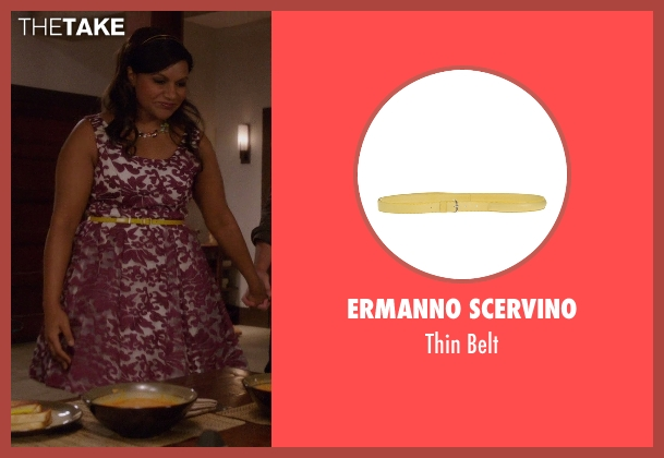 Ermanno Scervino yellow belt from The Mindy Project seen with Mindy Lahiri (Mindy Kaling)
