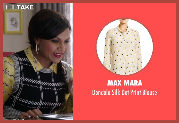 Max Mara yellow blouse from The Mindy Project seen with Mindy Lahiri (Mindy Kaling)