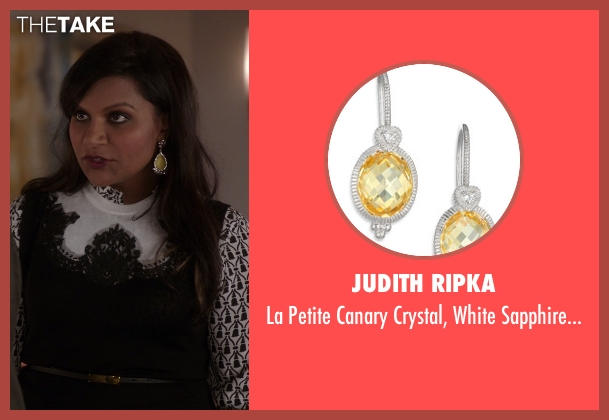 Judith Ripka yellow earrings from The Mindy Project seen with Mindy Lahiri (Mindy Kaling)