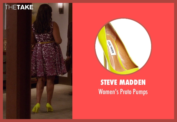 Steve Madden yellow pumps from The Mindy Project seen with Mindy Lahiri (Mindy Kaling)