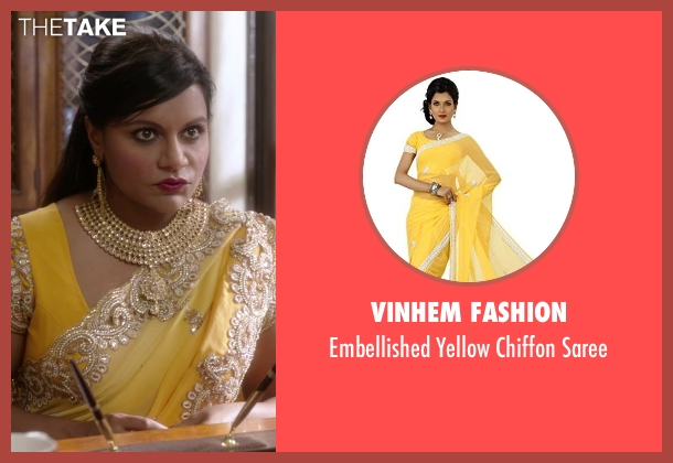 VinHem Fashion yellow saree from The Mindy Project seen with Mindy Lahiri (Mindy Kaling)