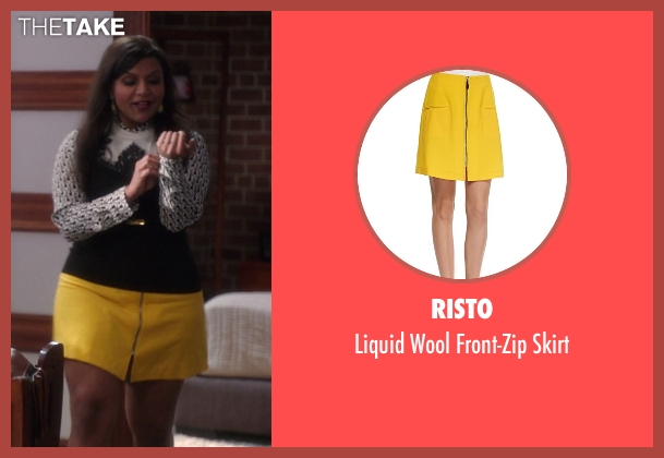 Risto yellow skirt from The Mindy Project seen with Mindy Lahiri (Mindy Kaling)