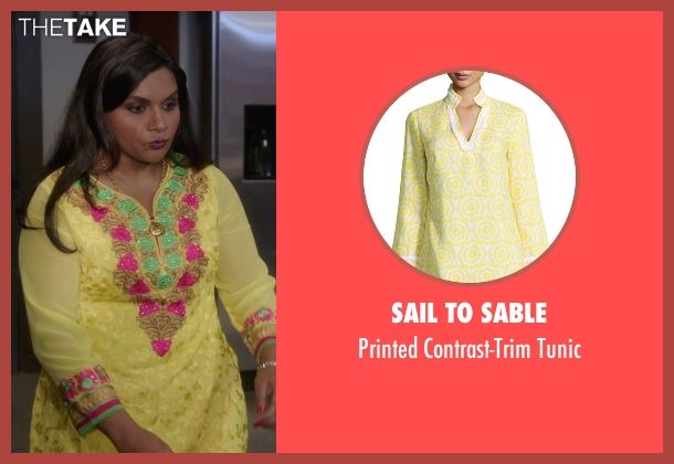 Sail To Sable yellow tunic from The Mindy Project seen with Mindy Lahiri (Mindy Kaling)
