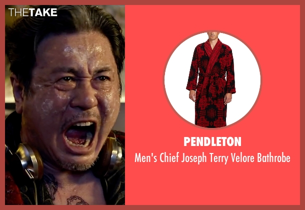 Pendleton red bathrobe from Lucy seen with Min-Sik Choi (Kang)
