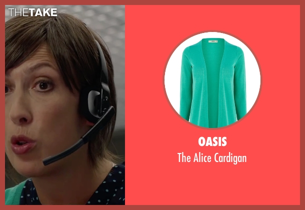 Oasis green cardigan from Spy seen with Miranda Hart (Nancy)