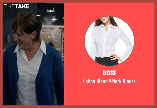 Boss white blouse from Spy seen with Miranda Hart (Nancy)