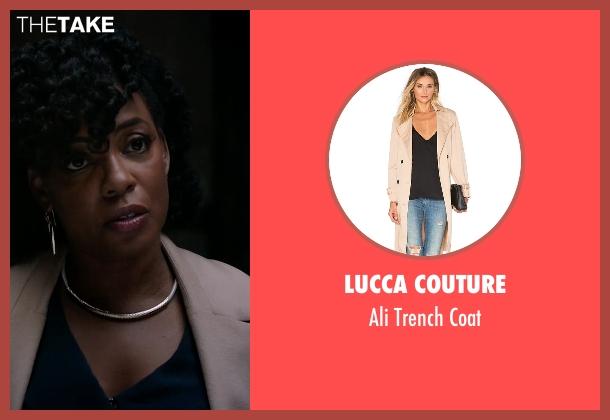 Lucca Couture beige coat from Quantico seen with Miranda Shaw (Aunjanue Ellis)