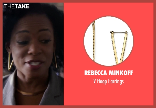 Rebecca Minkoff gold earrings from Quantico seen with Miranda Shaw (Aunjanue Ellis)
