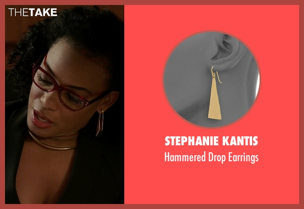 Stephanie Kantis gold earrings from Quantico seen with Miranda Shaw (Aunjanue Ellis)
