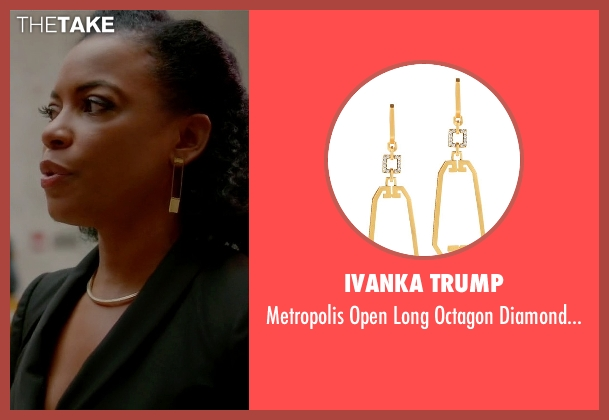 Ivanka Trump gold earrings from Quantico seen with Miranda Shaw (Aunjanue Ellis)