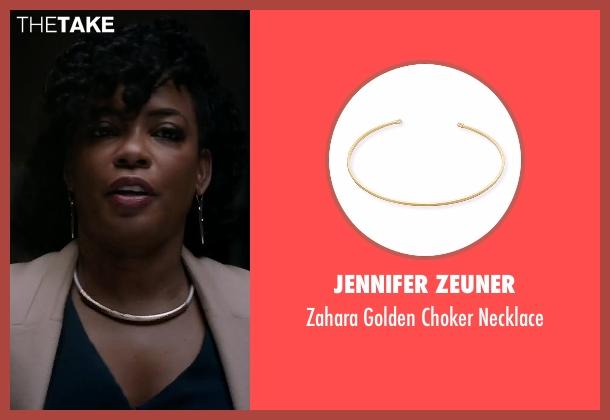 Jennifer Zeuner gold necklace from Quantico seen with Miranda Shaw (Aunjanue Ellis)