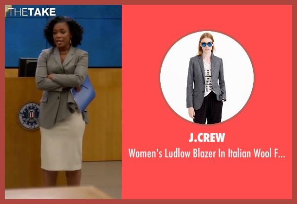 J.Crew gray flannel from Quantico seen with Miranda Shaw (Aunjanue Ellis)