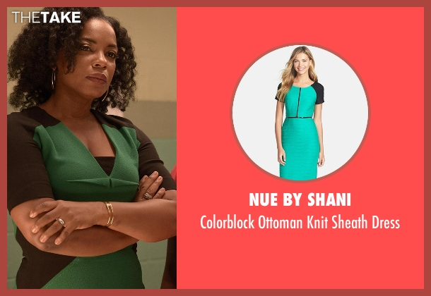 Nue By Shani green dress from Quantico seen with Miranda Shaw (Aunjanue Ellis)