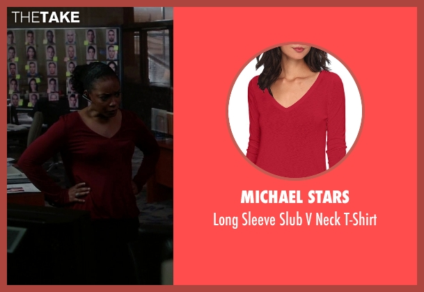 Michael Stars red t-shirt from Quantico seen with Miranda Shaw (Aunjanue Ellis)