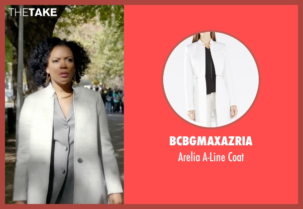 BCBGMAXAZRIA white coat from Quantico seen with Miranda Shaw (Aunjanue Ellis)