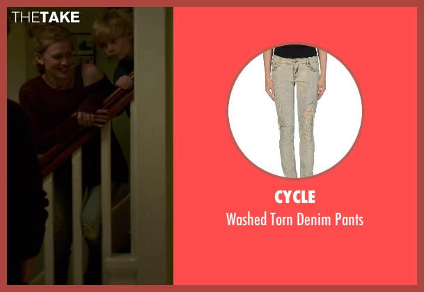 Cycle blue pants from If I Stay seen with Mireille Enos (Kat Hall)