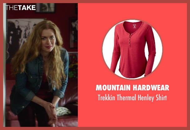 Mountain Hardwear red shirt from If I Stay seen with Mireille Enos (Kat Hall)
