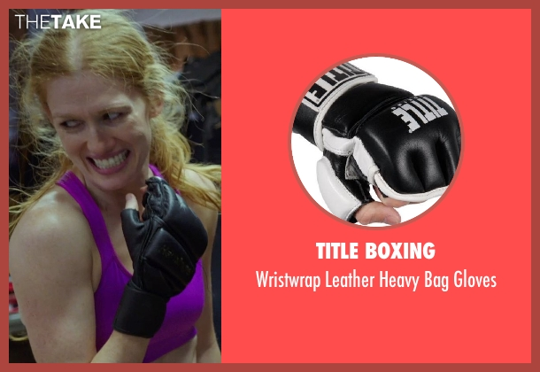 Title Boxing black gloves from Sabotage seen with Mireille Enos (Lizzy Murray)