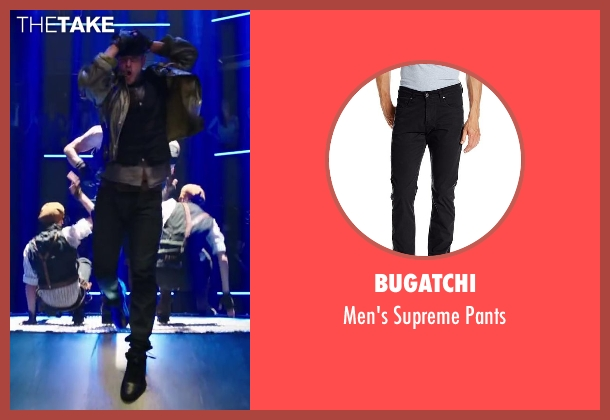 Bugatchi black pants from Step Up: All In seen with Misha Gabriel Hamilton (Eddy)
