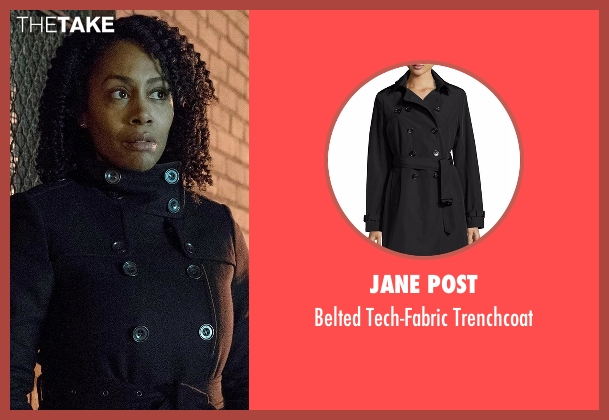 Jane Post black trenchcoat from Marvel's Luke Cage seen with Misty Knight (Simone Cook)