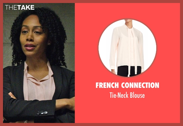 French Connection pink blouse from Marvel's Luke Cage seen with Misty Knight (Simone Cook)