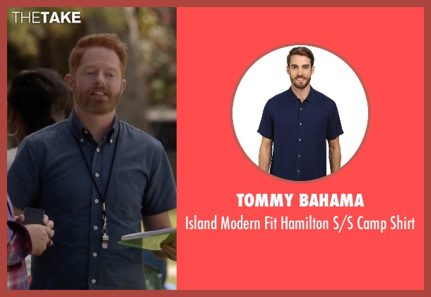 Tommy Bahama blue shirt from Modern Family seen with Mitchell Pritchett (Jesse Tyler Ferguson)