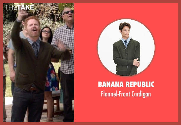 Banana Republic green cardigan from Modern Family seen with Mitchell Pritchett (Jesse Tyler Ferguson)