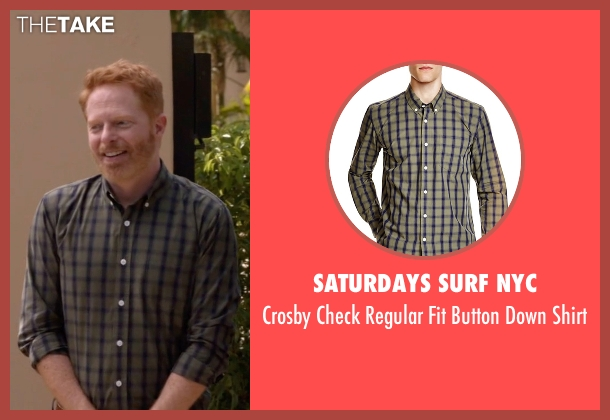 Saturdays Surf NYC green shirt from Modern Family seen with Mitchell Pritchett (Jesse Tyler Ferguson)