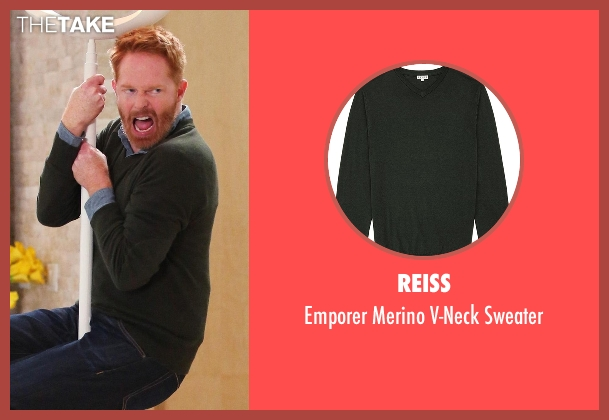 Reiss green sweater from Modern Family seen with Mitchell Pritchett (Jesse Tyler Ferguson)