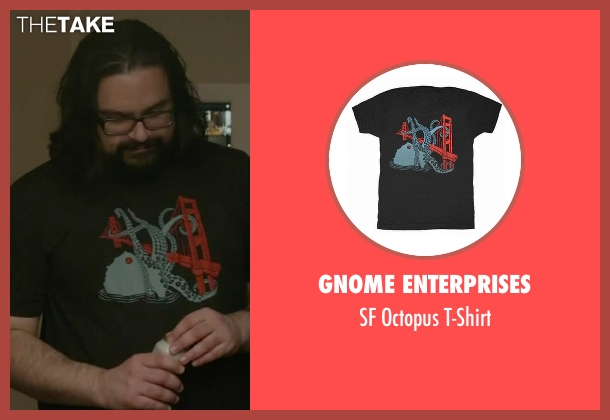 Gnome Enterprises black t-shirt from Mr. Robot seen with Mobley (Azhar Khan)