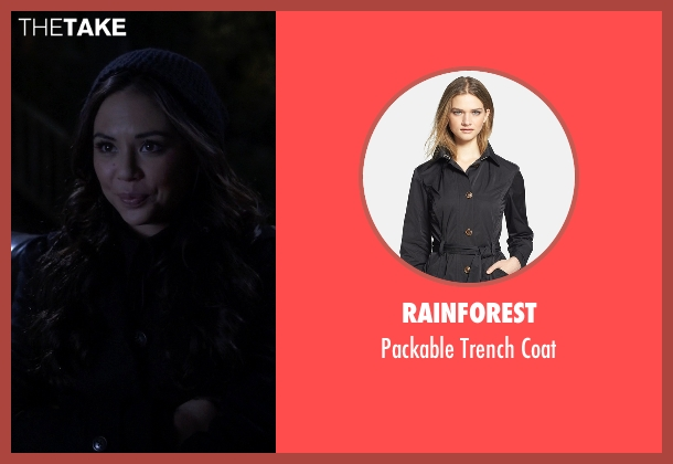 Rainforest black coat from Pretty Little Liars seen with Mona Vanderwaal  (Janel Parrish)