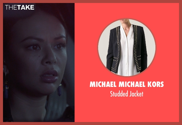 Michael Michael Kors black jacket from Pretty Little Liars seen with Mona Vanderwaal  (Janel Parrish)