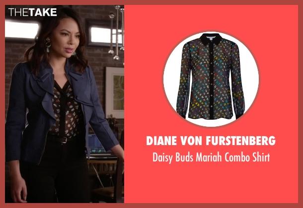 Diane von Furstenberg black shirt from Pretty Little Liars seen with Mona Vanderwaal  (Janel Parrish)