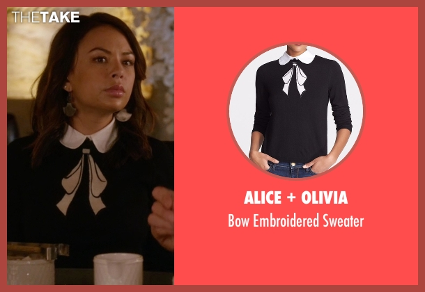 Alice + Olivia black sweater from Pretty Little Liars seen with Mona Vanderwaal  (Janel Parrish)
