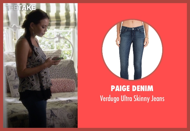 Paige Denim blue jeans from Pretty Little Liars seen with Mona Vanderwaal  (Janel Parrish)
