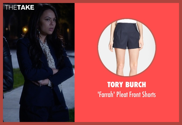 Tory Burch  blue shorts from Pretty Little Liars seen with Mona Vanderwaal  (Janel Parrish)