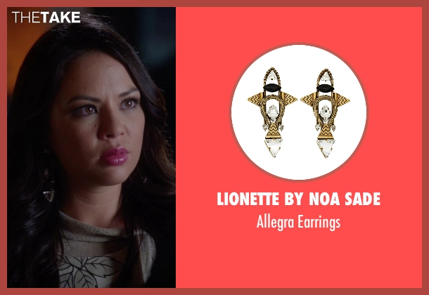 Lionette By Noa Sade  gold earrings from Pretty Little Liars seen with Mona Vanderwaal  (Janel Parrish)