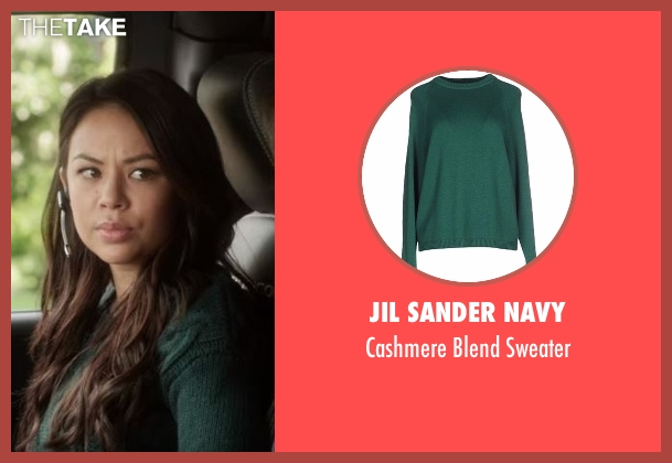 Jil Sander Navy green sweater from Pretty Little Liars seen with Mona Vanderwaal  (Janel Parrish)