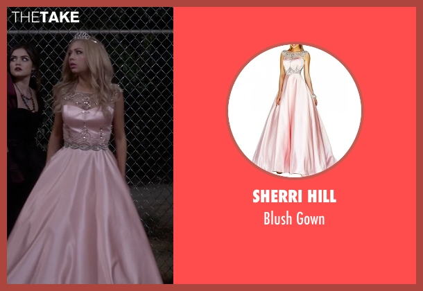Sherri Hill pink gown from Pretty Little Liars seen with Mona Vanderwaal  (Janel Parrish)
