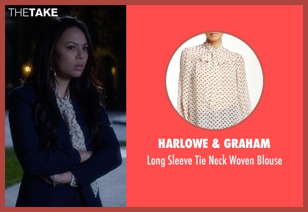Harlowe & Graham white blouse from Pretty Little Liars seen with Mona Vanderwaal  (Janel Parrish)
