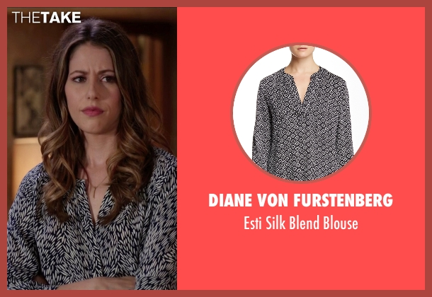 Diane von Furstenberg black blouse from Silicon Valley seen with Monica (Amanda Crew)