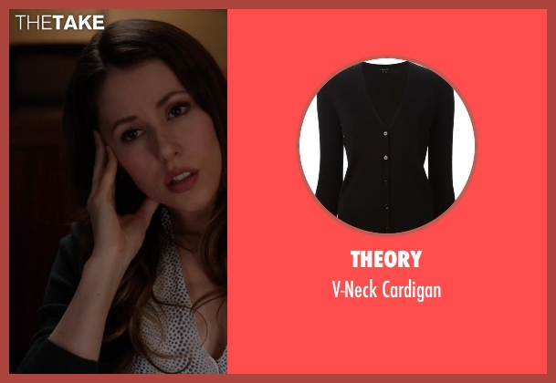 Theory black cardigan from Silicon Valley seen with Monica (Amanda Crew)